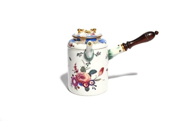 A Meissen chocolate pot and cover 2nd half 18th century, later decorated with sprays of flowers, fruit and insects, the rim with panels of blue scale, indistinct blue crossed swords mark, the spout ground and handle restored, 18.5cm high. (2)