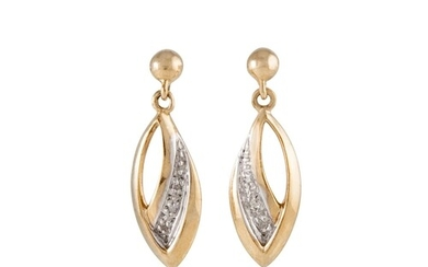 A PAIR OF DIAMOND SET EARRINGS, drop design, mounted in gold