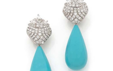 A PAIR OF EAR PENDANTS in platinum and 18K (750) white gold pierced and set with brilliant-cut and shuttle-cut diamonds, holding a drop of turquoise in pendants.