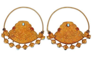 * A PAIR OF LARGE GILT-COPPER REVIVAL HOOP EARRINGS Possibly Central Asia or India, late 19th - 20th century