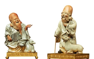 A PAIR OF LOUIS XVI STYLE ORMOLU AND CHINESE GLAZED EARTHENWARE FIGURES, 19TH CENTURY