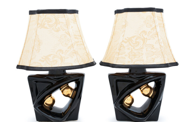 A Pair of Art Deco Pottery Lamps