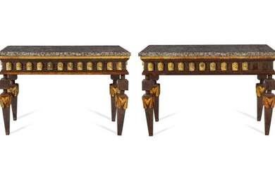A Pair of Empire Style Parcel Gilt Metal Console Tables