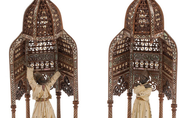 A Pair of Moorish Inlaid Hardwood Shrines with Austrian Cold Painted Bronze Figures