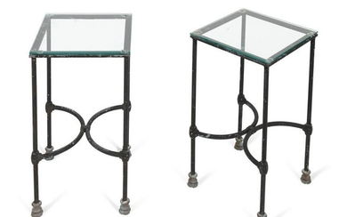 A Pair of Patinated Metal and Glass Side Tables Height