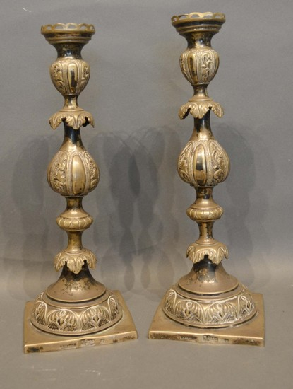 A Pair of Russian Silver Candlesticks by JA Goldman, St Pete...