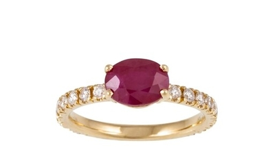 A RUBY SINGLE STONE RING, the oval ruby to brilliant cut dia...