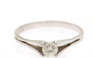 A diamond ring set with a brilliant-cut diamond weighing app. 0.34 ct., mounted in 18k white gold. Size 56.5.