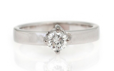 SOLD. A diamond ring set with a brilliant-cut diamond weighing app. 0.43 ct., mounted in...