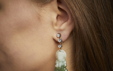 A jade, diamond and gold pair of ear...