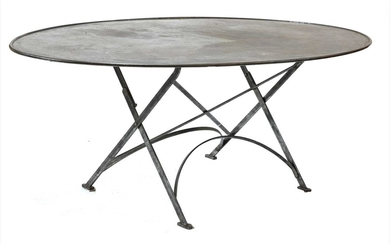 A large French oval steel dining table