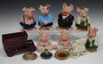 A large mixed group of Wade pottery, including a set of five Wade NatWest pigs, various posy and can