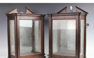 A pair of George III mahogany lanthorns or lanterns, of arch...