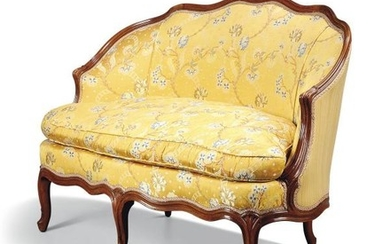 A pair of Louis XV style beechwood canapes, 19th century