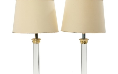 A pair of plexi glass and metal table lamps. Shades enclosed. 1970s. H. including shades 78 cm. (2)