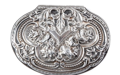A small French embossed silver box, 19th Century...