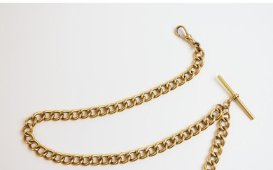 A yellow gold curb-link albert chain (unmarked), with attach...