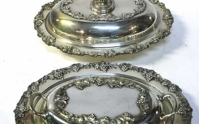 ANTIQUE GRAPE VINE SILVER PLATE COVERED VEGETABLES