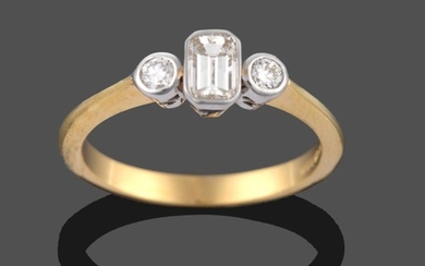 An 18 Carat Gold Diamond Three Stone Ring, an emerald-cut...