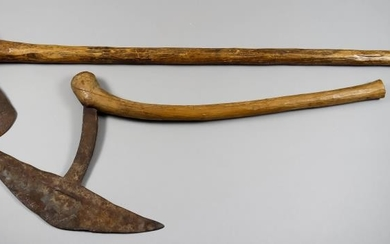 An African Steel Axe With Wood Haft, Possibly Shona,...