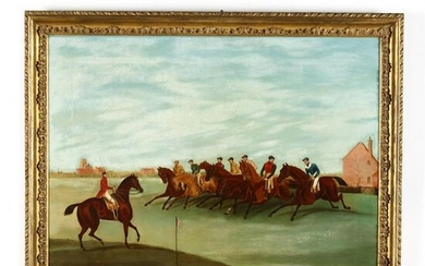 An Antique English School Painting of a Steeplechase