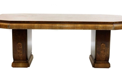 An Art Deco burr walnut dining table