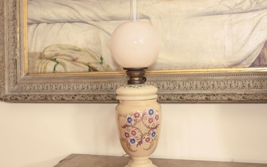 An oil opaline glass lamp