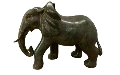 Antique Khmer Style Bronze Elephant Statue - 34cm/14""