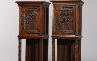 Antique Pair of Gothic Revival Carved Oak Side Cabinets
