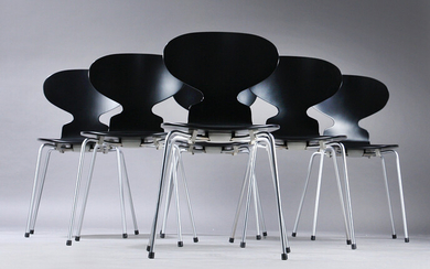 Arne Jacobsen. A set of eight chairs 'The Ant', model 3101, revarnished black, satin chrome-plated legs (8).