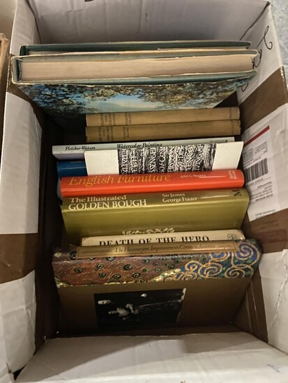 """Box of Books on Antiques & Art incl. Gros-Galliner, G. """"Glass: A Guide for Collectors""""; """"Sotheby's Concise Encyclopedia of Furniture..."""