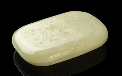 CELADON JADE BOX WITH COVER QING DYNASTY, 19TH CENTURY