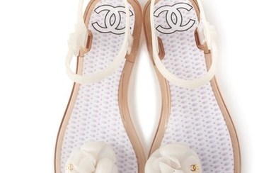 CHANEL   WHITE CAMELLIA JELLY ANKLE STRAP THONG FLAT SANDALS