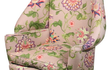 CUSTOM DESIGNER CHIPPENDALE STYLE UPHOLSTERED WING CHAIR
