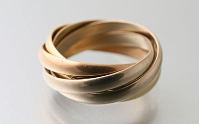 Cartier, five interlaced three-tone gold rings, Must