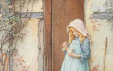 Charles Edward Wilson (1854-1941) Blowing bubbles Signed, watercolour, 24cm by...