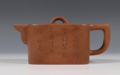 China, yixing potty, 20th century, with carved decor...