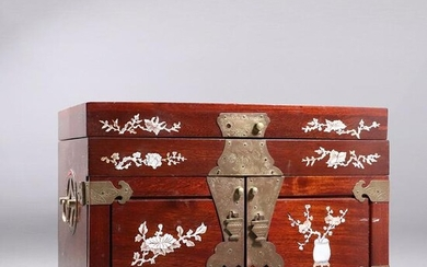 Chinese Cherry Mahogany Jewelry Chest with MOP Inlay