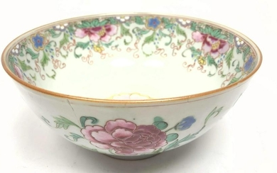 Chinese Floral Decorated Bowl. Flowered Asian Porcelain