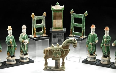 Chinese Ming Potteries - Horse, Attendants, & Litter