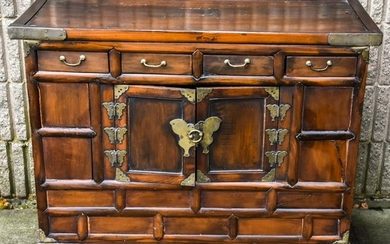 Chinese Wood & Brass Chest / Cabinet