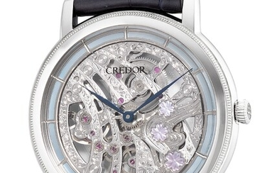 Credor, Ref. GBBD965 An extremely fine and rare limited edition platinum and mother of pearl skeletonized wristwatch with mother of pearl cherry blossoms, hand engraved bridges, guarantee, tapestry, fitted presentation box and outer packaging, numbered...