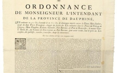 """DOUPHINED. 1759. """"Ordinance of Monsignor the Intendant of the Province of Dauphiné, which condemns in 300 pounds of fine & in 600 pounds of damages to the Lady Marie Jaubert, ... in charge of the service of the military beds in the Places of CHÂTEAU..."""