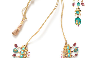 Diamond, Ruby, Turquoise, Cultured Pearl and Polychrome Enamel Demi-Parure
