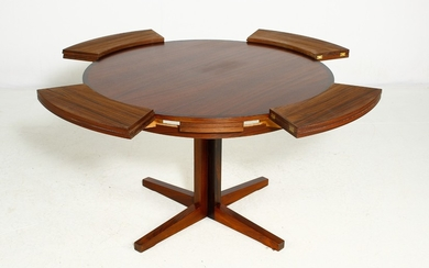 Dyrlund. Round dining table in rosewood with extension ring, Model 'flip-flap'
