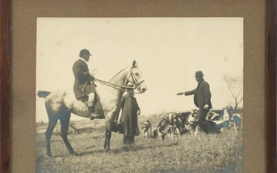 "ENGLISH SILVER GELATIN PHOTOGRAPH, 19TH C, H 8.5"", W 11"", FOX HUNT"