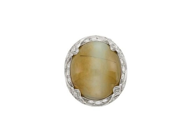 Edwardian Platinum, Cat's Eye Chrysoberyl and Diamond Ring