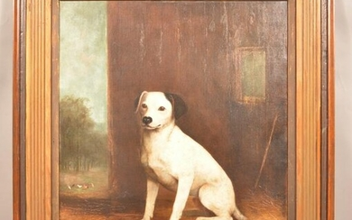 F. Spang Oil On Canvas Dog Portrait Painting.