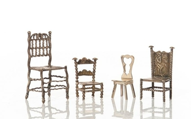 FOUR MINIATURE SILVER CHAIRS 63g