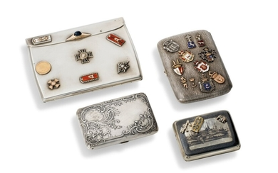 FOUR NIELLO AND ENAMEL SILVER CIGARETTE CASES, VARIOUS MAKERS, RUSSIA, LATE 19TH / EARLY 20TH CENTURY